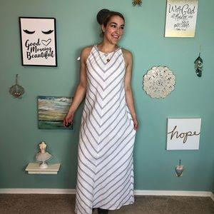 J. Crew White Linen Blue Striped Maxi Dress 8 H1